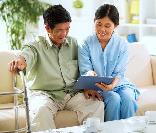 caregiver and a senior man