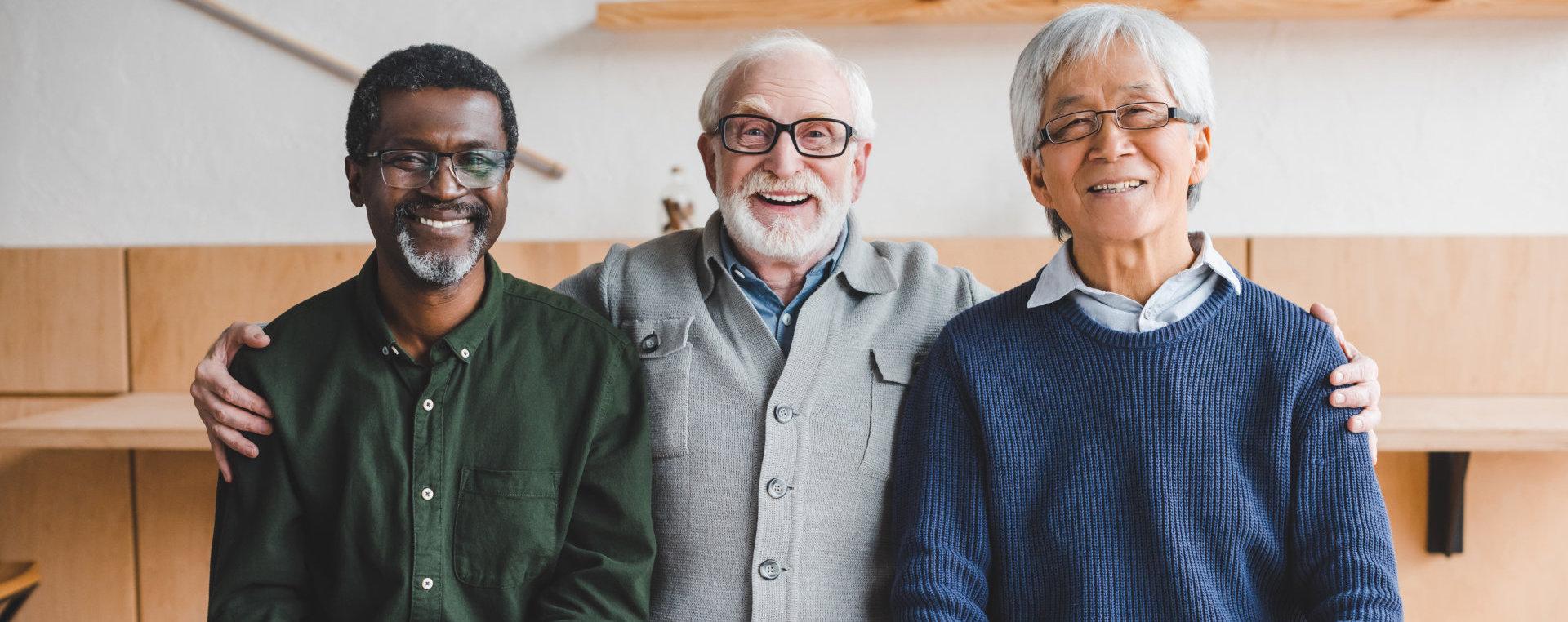 senior men smiling